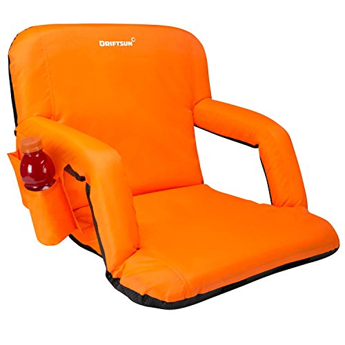 Driftsun Foldable Reclining Stadium Seat - Deluxe Reclining Bleacher Chair with Back Support, Folding Sport Chair for Bleachers, Lawns, and Backyards (Standard Width, Orange)