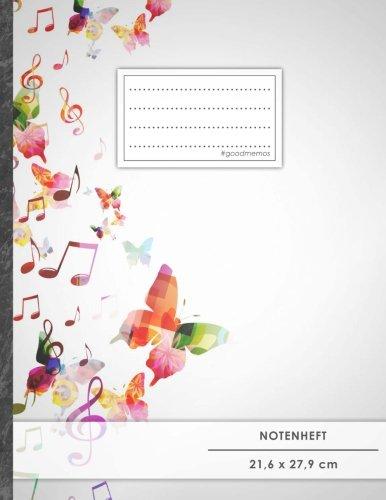 """NOTENHEFT DIN A4 • 48 Seiten, 24 Blatt, 12 Systeme, """"Schmetterlinge"""" • Original #GoodMemos Schulheft • Mit Register und Seitenzahlen, Notenlineatur 14"""