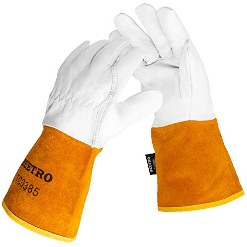 BEETRO Welding Gloves, Goatskin Mig/Tig Welder with Extra Length Cowhide Split Leather, Heat/Fire Resistant BBQ/Warehouse/Heavy Duty/Animal Handling Glove, Extremely Soft and Flexible, 1 Pair