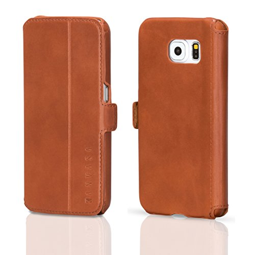KANVASA Samsung Galaxy S6 Funda Piel Tapa Marrón - Funda Libro Slim para Galaxy S6 - Estilosa Funda Hecha de Auténtica Piel de Cuero - Protección Óptima y Piel de Calidad - Ultrafina