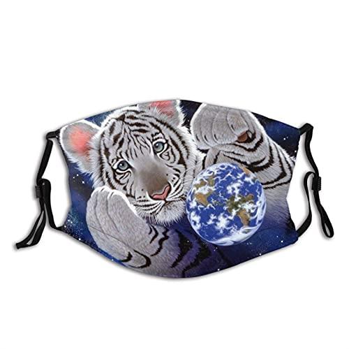 asdew987 Tiger Play With a Ball Cloth Mascarilla facial de algodón ajustable, reutilizable, lavable, unisex para adultos y hombres