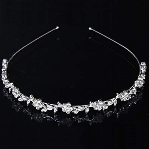 Women's Wedding Crystal Bridal Flower and Leaves Tiara Crown Hea