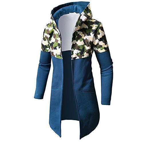 MAYOGO Mittlere Länge Hoodie Herren Casual Hoode Sweatshirt Männer Punk Midi Länge Übergangsjacke Windjacke Kapuzenpullover mit Full-Zip (Blue, M)