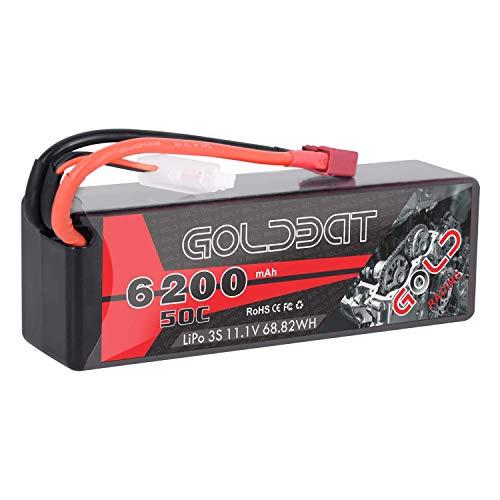 GOLDBAT LiPo 3S RC Batterie 11,1 V Lipo Akku 6200 mAh 50C Hartschalenkoffer mit Dekanstecker für RC-Fahrzeuge im Maßstab 1/8 1/10 Auto / LKW / Buggy, RC-Boot, Flugzeug, UAV, Drohne