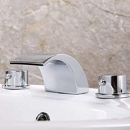 FYYONG Antiguo europeo de baño Lavabo caliente y fría mezclada agua de cobre de baño cascada de tres agujeros de tres piezas del grifo hermoso práctica