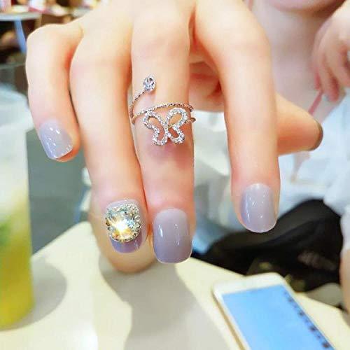 24set mariée élégante Taro violet brillant carré cristal faux ongles style japonais ongles conseils avec outil de décoration de doigt