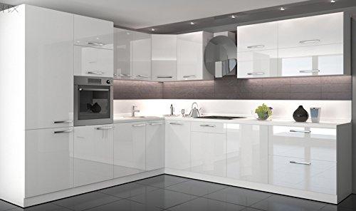 Global Trade Küche L Form Hochglanz 280 cm x 300 cm ohne E-Geräten.