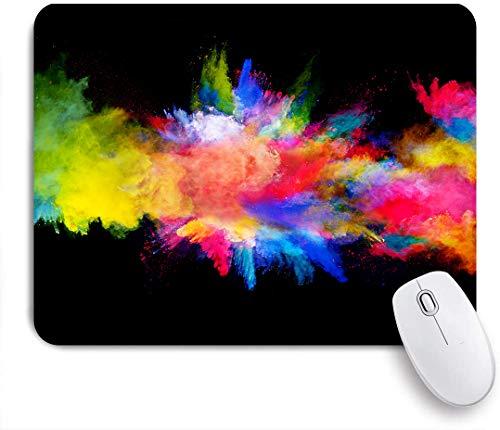 Aliciga Gaming Mouse Pad Rutschfeste Gummibasis,Blaue Farbe Explosion von farbigem Pulver auf gelbem Spritzer,für Computer Laptop Office Desk,240 x 200mm