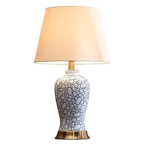 WECDS Lámparas de Mesa Lámpara de Mesa de cerámica de Porcelana Azul y Blanca Americana Lámpara de Noche para Dormitorio Lámpara LED Simple Creativa Pantalla de Tela Base de Metal Luz de Lectura
