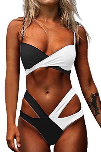 CheChury Mujeres Traje de baño de Contraste Color Cintura Alta de Dos Piezas Conjunto de Bikini Push up Vendaje Bikini Bañador de Baño