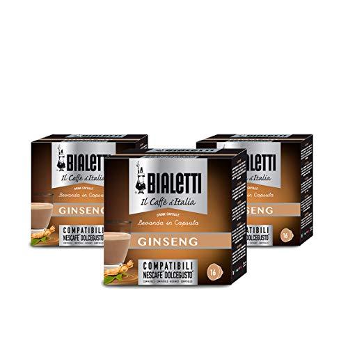 Bialetti Capsule Caffè Compatibili Dolce Gusto Ginseng, 3 confezioni da 16 capsule (48 Capsule)