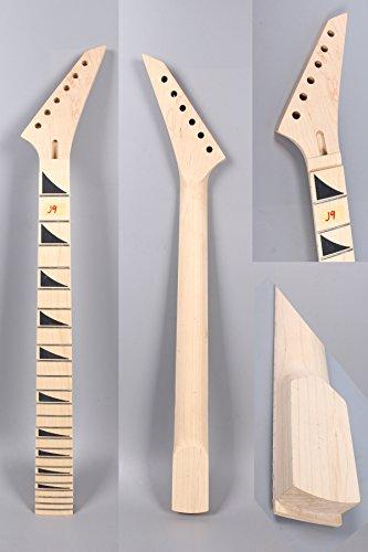 Yinfente Unlackierter E-Gitarren-Hals, Ersatz für 24 Bünde, 648 cm, Griffbrett aus Ahornholz