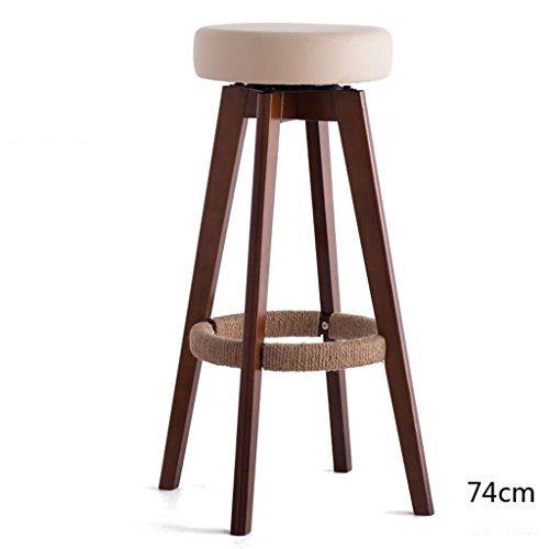 Rollsnownow Beige Coussin Brun Cadre En Bois Haute 74 cm Bar Chaise Haute Tabouret Moderne Simplicité Rotation Chaise