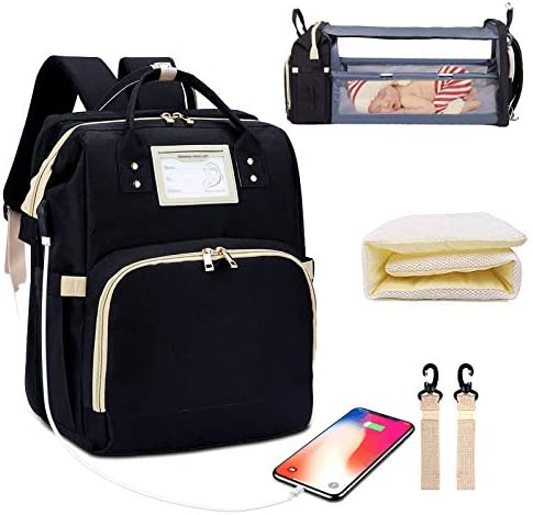 Diaper Bag Backpack with Changing Station Foldable Baby Bed Back Pack 3 in 1 Nappy Mummy Bag product image