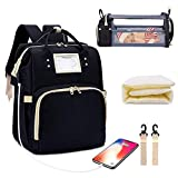 Diaper Bag Backpack with Changing Station, Foldable Baby Bed Back Pack, 3 in 1 Nappy Mummy Bag for Outdoor Travel Shopping Camping, Large Capacity, USB Charge Port, Baby Bag Portable Crib (Black)