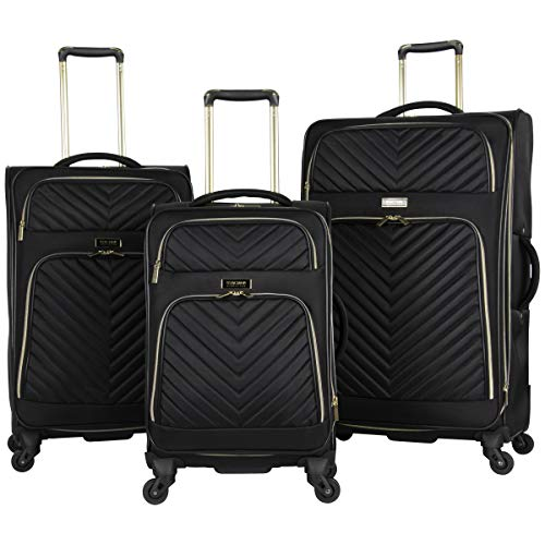 Kenneth Cole Reaction Women's Chelsea 3-Piece 20'/24'/28' Softside Chevron Quilted Expandable 4-Wheel Spinner Luggage Set, Black