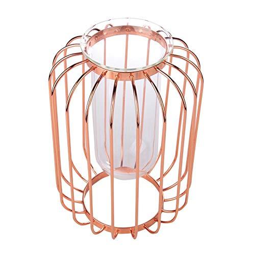 Vaso em forma de lanterna, vaso de ferro forjado, vaso de flores de mesa, exterior artificial para escritório interno para decoração de casa(Rose gold trumpet)