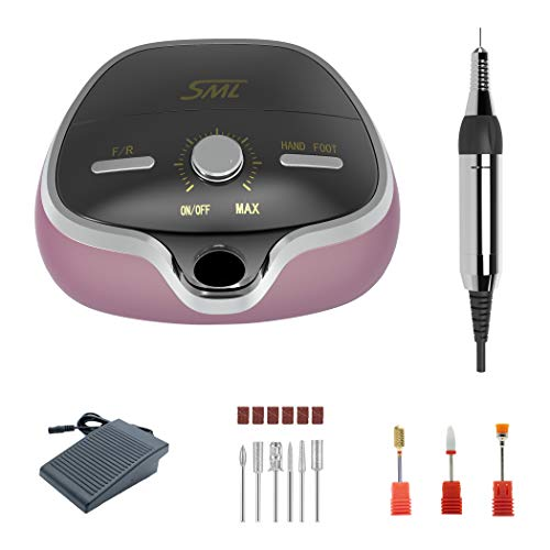 SML M3 fresa per unghie elettrica professionale in casa con il pedale per l'uso,limetta elettrica per manicure e pedicure di alta velocità regolabile fino a 35000 rpm con il kit