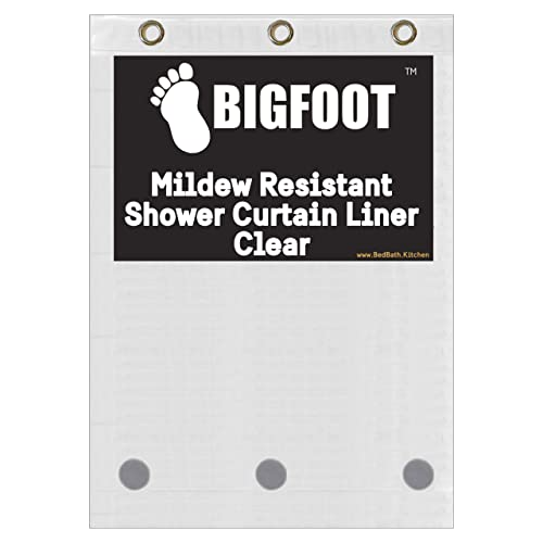 BigFoot Shower Curtain Liner – 72 x 72 PEVA Heavy Duty Shower Curtain with Rustproof Metal Grommet and 3 Magnetic Weights – Odor Free and Compatible with Standard Showers, Clear