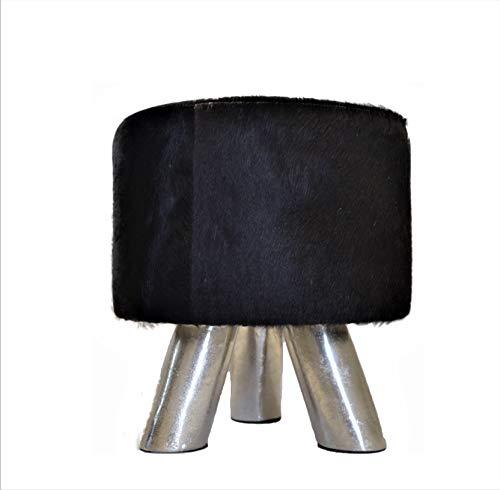Brillibrum Design Kuhfell-Hocker Fußhocker Sitzhocker mit Metall Füßen Fellhocker Unikat Dunkelbraun bis Schwarz