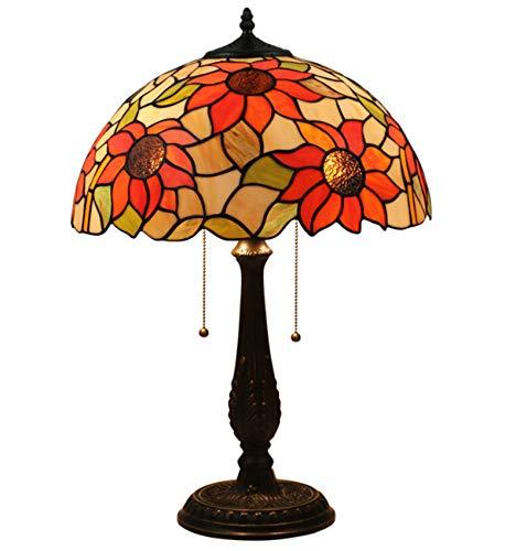 NANXCYR Tiffany Style Lámpara de Mesa Art Deco Vidrio Manchado de Girasol lámpara Lámpara de Lectura Lámpara de aleación Antigua Base para Sala de Estar Dormitorio de Familia Cama, 12 Pulgadas
