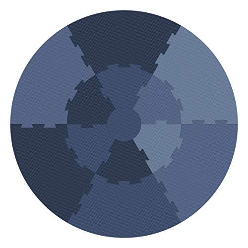 Sebra Spielmatte, Krabbeldecke, Puzzlematte besteht aus 13 Teilen in vier Blautönen - forest lake blue