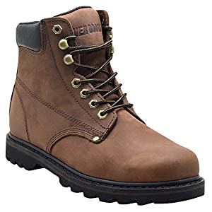 """EVER BOOTS """"Tank Men's Soft Toe Oil Full Grain Leather Insulated Work Boots Construction Rubber Sole (10 D(M), Darkbrown)"""