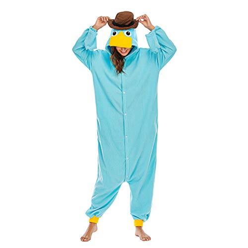HUTUTU Onesie Pyjama Erwachsene Unisex Cosplay Kostüme Schlafanzug Tieroutfit Schlafanzug tierkostüme Jumpsuit, LTY117-Blaue Ente,S