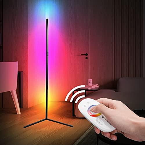 Aney Well LED Stehlampe Dimmbar mit Fernbedienung, Eck Standleuchte Stufenlos Dimmbar Farbwechsel Lichtsaeule RGB Farbtemperaturen/ Helligkeit für Wohnzimmer Schlafzimmer
