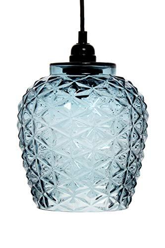 Lampadario a sospensione in vetro, stile moderno, colore blu