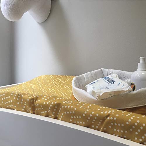 Mimuselina Cambiador Bebé de Sobremesa con Funda | Cambiador Gomaespuma, Impermeable, Incluye Funda Ajustable y Lavable. Cambiador cómoda. 50x10x70cm… (Mostaza)