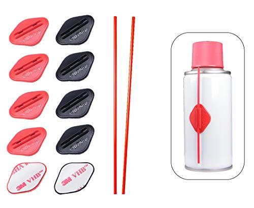 Clip2keep Starter Kit, 10 Clip Adesive per Cannuccia per Bombolette Spray con 2 Cannucce di Ricambio. Patch Adesivo per Cannucce di Spray Lubrificanti per Catene di Bicilette o Moto, Aria Compressa