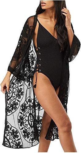 Uniquestyle - Bikini de encaje para mujer, para verano, playa, pareos kimono, cardigan, talla única negro B Talla única