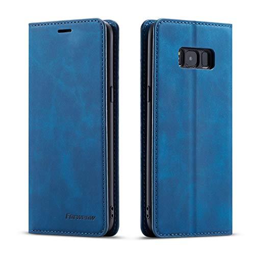 EYZUTAK Hülle für Samsung Galaxy S8, Magnetverschluss Premium PU Leder Flip Hülle mit Kartenfächern Brieftasche Standfuntion stoßfeste Silikonhülle Retro Ledertasche - Blau