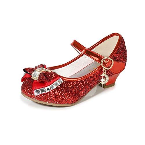 Youpin Zapatos de piel para niñas de princesa con purpurina, estilo casual, con purpurina, para niños, de tacón alto, con nudo de mariposa, azul, rosa, plata (color: rojo, talla de zapato: 36)