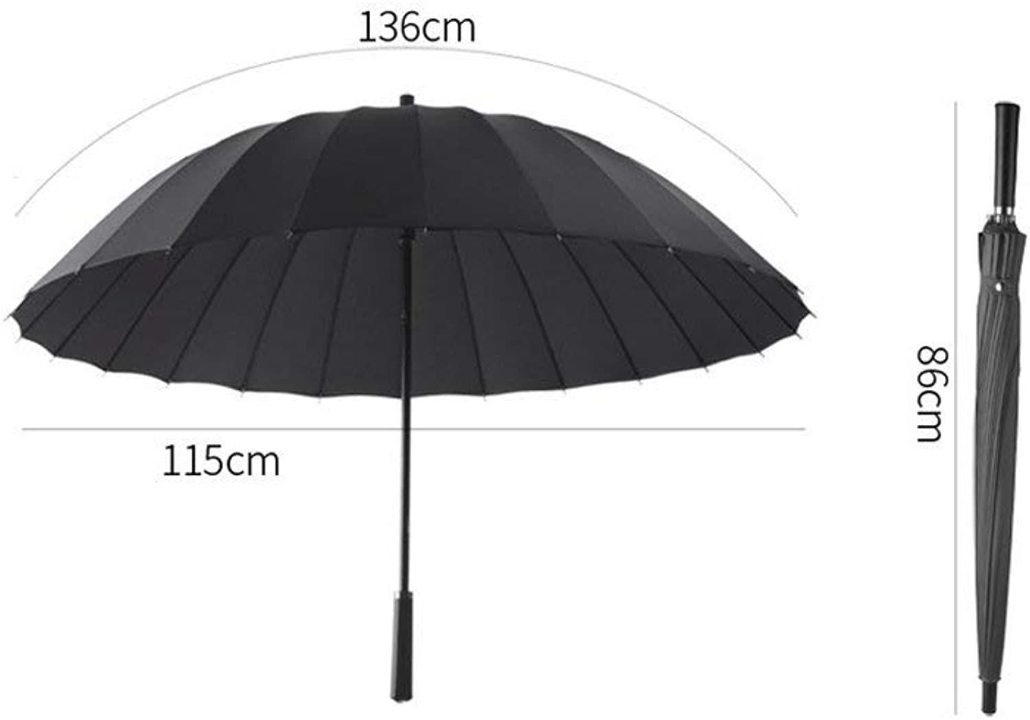 Long Handle Umbrellas, Straight Rod Reinforcement Windproof Rain Commerce Foldable, Non-Slip Handle Windproof Umbrella, ZDS