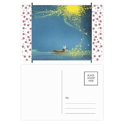 Stille nacht Light Boot Fairy Fuying Schilderen Kerstmis Bloem Ansichtkaart Thanks Card Mailing 20 stks