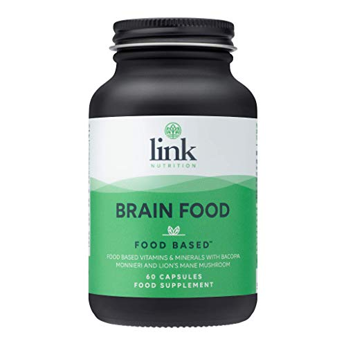 [Brain Food] Food Based Supplement | Contains Bacopa Monnieri, Lions Mane Mushroom & Turmeric | Safe - Effective - Absorbable | Vegetarian | Made in The UK by Link Nutrition | 60 Vegecaps