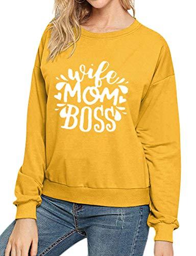 Dresswel Damen Wife Mom Boss Sweatshirt Langarmshirts mit Rundhalsausschnitt Pullover Langarm T-Shirt Bluse Tops Oberteile