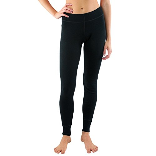Woolx Avery - Women's Wool Leggings - Midweight Merino Base Layer Bottoms - Warm & Soft, XX-Large, Black