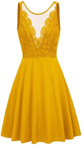 Women s Retro Vintage Sleeveless V Neck Lace Swing Dress S Yellow product image