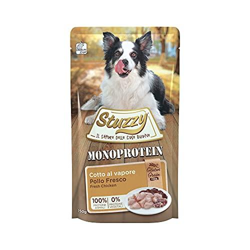 Stuzzy, Monoprotein Grain & Gluten Free, Comida húmeda para Perros Adultos, Sabor Pollo Fresco, en paté - Total 1,8 kg (12 Sobres x 150 gr) 🔥