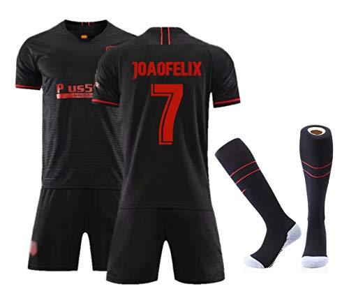Fußballbekleidung für Männer Erwachsene, Griezmann 7 Wettkampfkostüm-Set, hochwertiges Swingman-Trikot, personalisierte Name Nummer Team Fußball-Kits T-Shirt + Shorts + Socken-Joao Felix 7-L