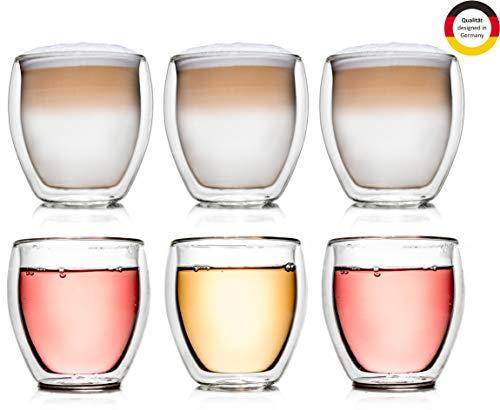 Creano doppelwandiges Thermoglas, 250ml, 6er Set, hitzebeständiges Kaffeeglas/Teeglas aus hochwertigem Borosilikatglas (DG-Bauchig)