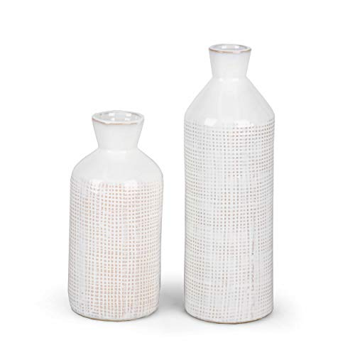 TERESA'S COLLECTIONS Ceramic Decorative Vase, Distressed White Rustic Vases for Home Decor, Mantel, Table, Living Room Decoration-Set of 2