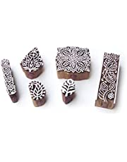 Leaf and Square Asian Pattern Wooden Blocks for Printing (Set of 6)