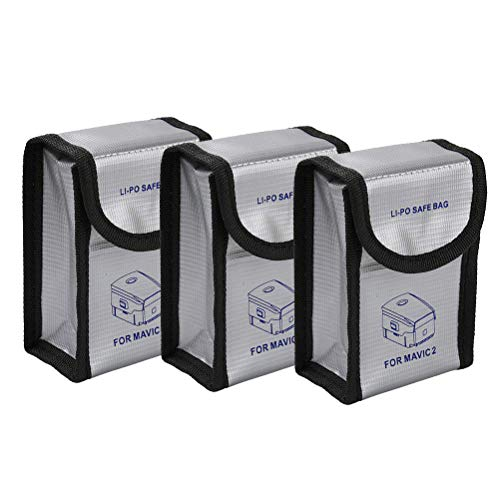 iEago RC Mavic 2 Sac de Batterie Lipo Anti-Déflagrant Sac de Protection Contre Housse Anti-feu pour Batterie pour DJI Mavic 2 Pro / Zoom / Mavic Pro / Mavic Air Drone, 3PCS