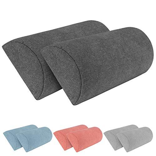 Monsera 2er Set Halbrolle, weich u. formstabil, melierter Bezug, Innenkissen aus viskoelastischem Memory-Schaum, Nacken- u. Rückenkissen, für Bett, Couch, auf Reisen, Größe: 40 x 10 cm (Schwarz)