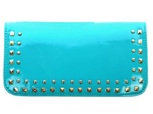 Montana West Shiny Collection Phone Charging Clutch Wristlet. Wallet, Crossbody (Turquoise)