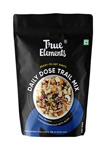 True Elements Daily Dose Trail Mix 250g - Mix of 15 Nuts, Berries, Dry Fruits & Seeds (Pumpkin, Sunflower, Flax, Sesame) - Mix Seeds for Eating | Healthy Snacks | Dry Fruit Mix